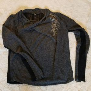 Miss Me Sweater sz Large Zipper Shoulder